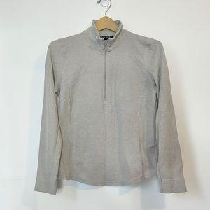 Ralph Lauren Grey Half Zip Ribbed Thermal Pullover
